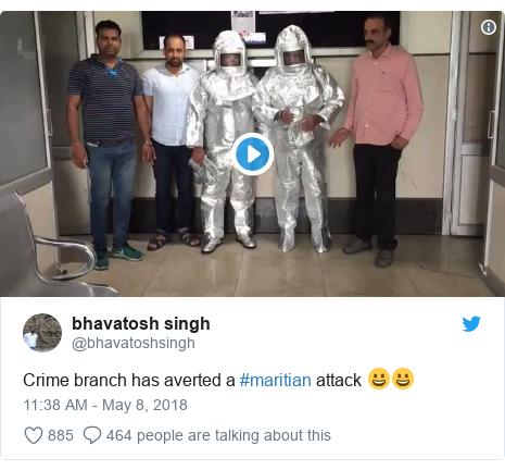 Twitter හි @bhavatoshsingh කළ පළකිරීම: Crime branch has averted a #maritian attack 😀😀