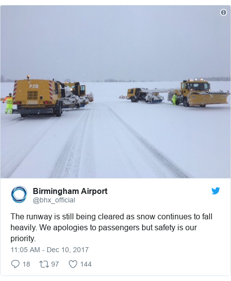 Twitter post by @bhx_official: The runway is still being cleared as snow continues to fall heavily. We apologies to passengers but safety is our priority.