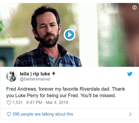 Twitter post by @bieberxmarvel: Fred Andrews, forever my favorite Riverdale dad. Thank you Luke Perry for being our Fred. You'll be missed.