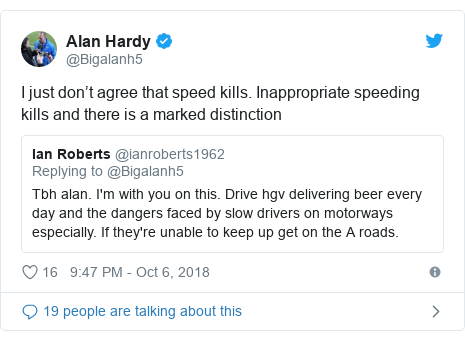 Twitter post by @Bigalanh5: I just don't agree that speed kills. Inappropriate speeding kills and there is a marked distinction