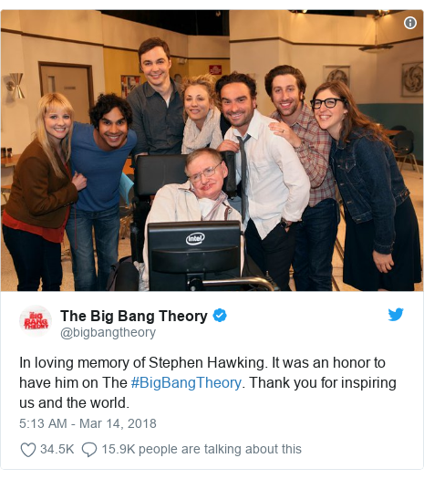 Twitter post by @bigbangtheory: In loving memory of Stephen Hawking. It was an honor to have him on The #BigBangTheory. Thank you for inspiring us and the world.