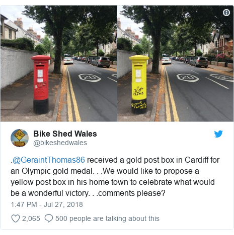 Twitter post by @bikeshedwales: .@GeraintThomas86 received a gold post box in Cardiff for an Olympic gold medal. . .We would like to propose a yellow post box in his home town to celebrate what would be a wonderful victory. . .comments please?
