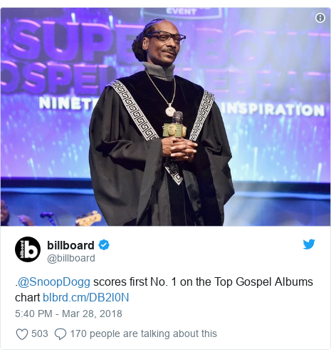 Twitter post by @billboard: .@SnoopDogg scores first No. 1 on the Top Gospel Albums chart