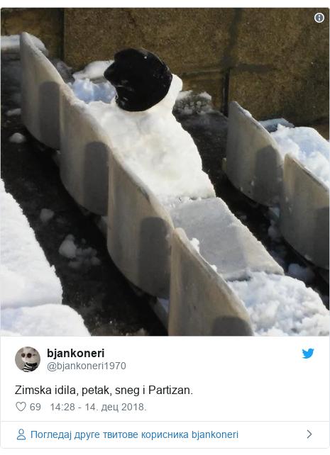 Twitter post by @bjankoneri1970: Zimska idila, petak, sneg i Partizan.
