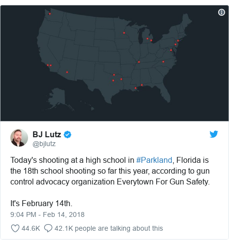 Twitter post by @bjlutz: Today's shooting at a high school in #Parkland, Florida is the 18th school shooting so far this year, according to gun control advocacy organization Everytown For Gun Safety.It's February 14th.