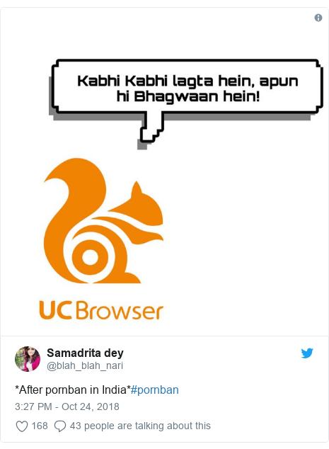 Twitter post by @blah_blah_nari: *After pornban in India*#pornban