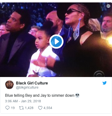 Twitter post by @blkgirlculture: Blue telling Bey and Jay to simmer down💀