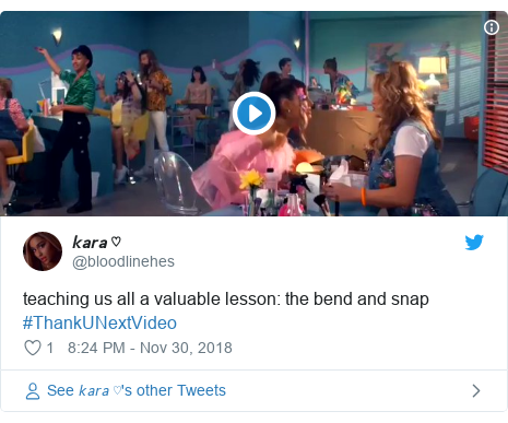 Twitter post by @bloodlinehes: teaching us all a valuable lesson  the bend and snap #ThankUNextVideo