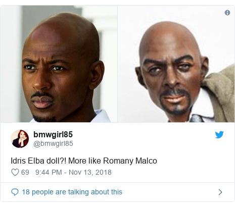 Twitter post by @bmwgirl85: Idris Elba doll?! More like Romany Malco