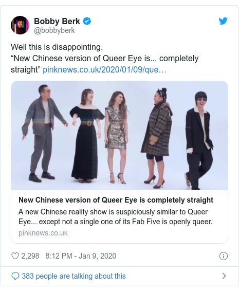 """Twitter post by @bobbyberk: Well this is disappointing. """"New Chinese version of Queer Eye is... completely straight"""""""