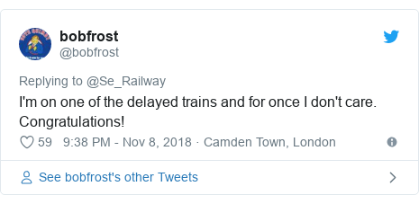 Twitter post by @bobfrost: I'm on one of the delayed trains and for once I don't care. Congratulations!