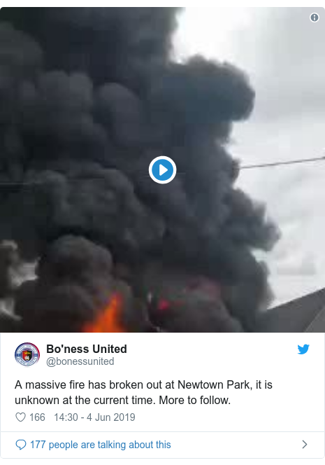 Twitter post by @bonessunited: A massive fire has broken out at Newtown Park, it is unknown at the current time. More to follow.