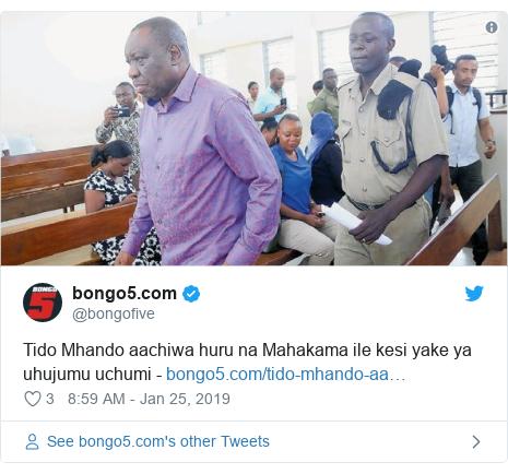 Ujumbe wa Twitter wa @bongofive: Tido Mhando aachiwa huru na Mahakama ile kesi yake ya uhujumu uchumi -
