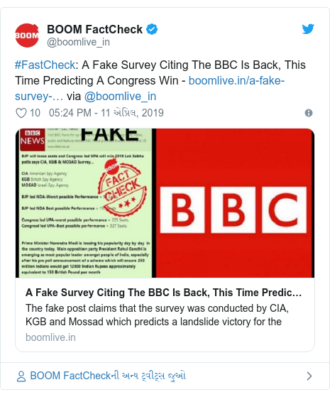 Twitter post by @boomlive_in: #FastCheck  A Fake Survey Citing The BBC Is Back, This Time Predicting A Congress Win -  via @boomlive_in