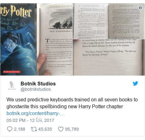 Twitter post by @botnikstudios: We used predictive keyboards trained on all seven books to ghostwrite this spellbinding new Harry Potter chapter