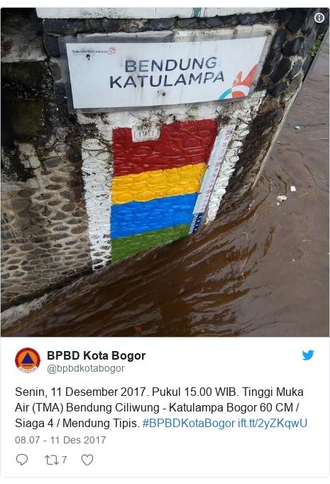 Twitter pesan oleh @bpbdkotabogor: Senin, 11 Desember 2017. Pukul 15.00 WIB. Tinggi Muka Air (TMA) Bendung Ciliwung - Katulampa Bogor 60 CM / Siaga 4 / Mendung Tipis. #BPBDKotaBogor