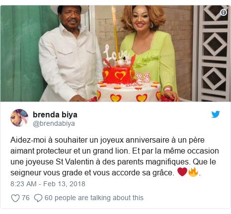 Twitter post by @brendabiya: Aidez-moi à souhaiter un joyeux anniversaire à un père aimant protecteur et un grand lion. Et par la même occasion une joyeuse St Valentin à des parents magnifiques. Que le seigneur vous grade et vous accorde sa grâce. ❤️🔥.