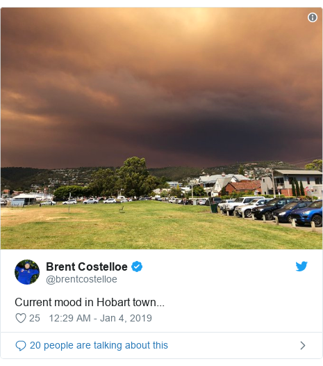 Twitter post by @brentcostelloe: Current mood in Hobart town...