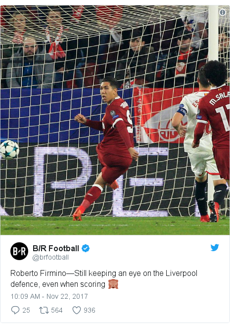 Twitter post by @brfootball: Roberto Firmino—Still keeping an eye on the Liverpool defence, even when scoring 🙈