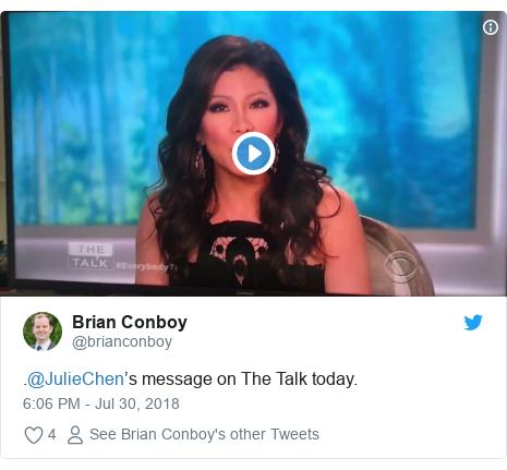 Twitter post by @brianconboy: .@JulieChen's message on The Talk today.