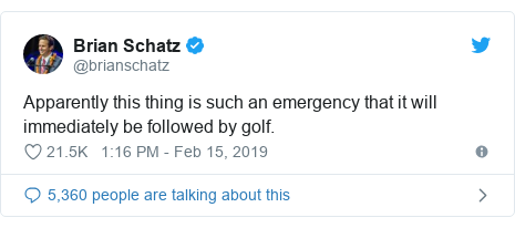Twitter post by @brianschatz: Apparently this thing is such an emergency that it will immediately be followed by golf.