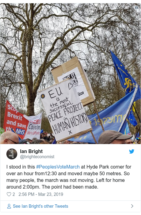 Twitter post by @brighteconomist: I stood in this #PeoplesVoteMarch at Hyde Park corner for over an hour from12 30 and moved maybe 50 metres. So many people, the march was not moving. Left for home around 2 00pm. The point had been made.