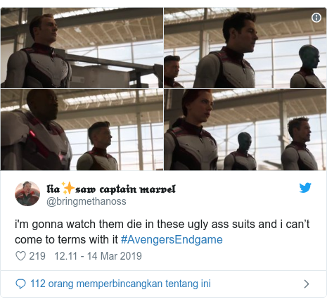 Twitter pesan oleh @bringmethanoss: i'm gonna watch them die in these ugly ass suits and i can't come to terms with it #AvengersEndgame