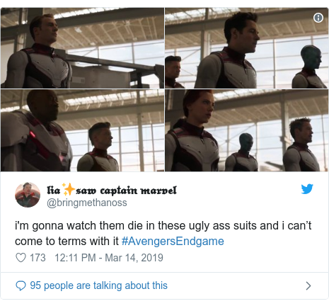 Twitter post by @bringmethanoss: i'm gonna watch them die in these ugly ass suits and i can't come to terms with it #AvengersEndgame