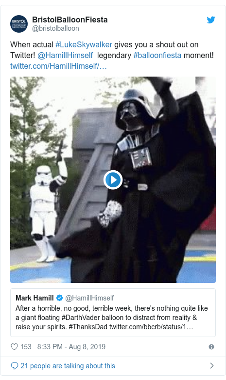 Twitter post by @bristolballoon: When actual #LukeSkywalker gives you a shout out on Twitter! @HamillHimself  legendary #balloonfiesta moment!