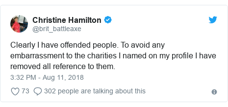 Twitter post by @brit_battleaxe: Clearly I have offended people. To avoid any embarrassment to the charities I named on my profile I have removed all reference to them.