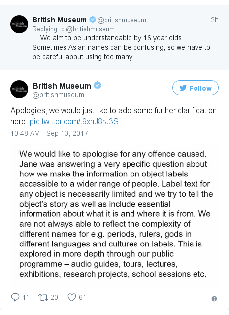 Twitter post by @britishmuseum: Apologies, we would just like to add some further clarification here  pic.twitter.com/t9xnJ8rJ3S
