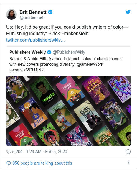 Twitter post by @britrbennett: Us Hey, it'd be great if you could publish writers of color—Publishing industry Black Frankenstein