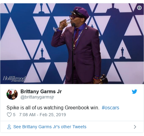 Twitter post by @brittanygarmsjr: Spike is all of us watching Greenbook win.  #oscars