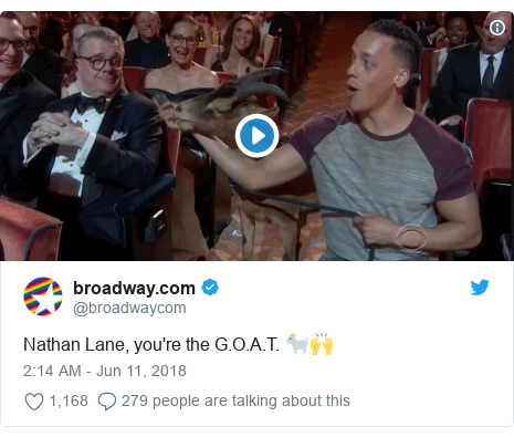 Twitter post by @broadwaycom: Nathan Lane, you're the G.O.A.T. 🐐🙌