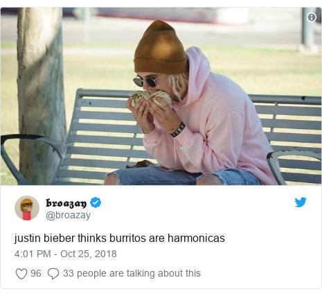 Twitter post by @broazay: justin bieber thinks burritos are harmonicas
