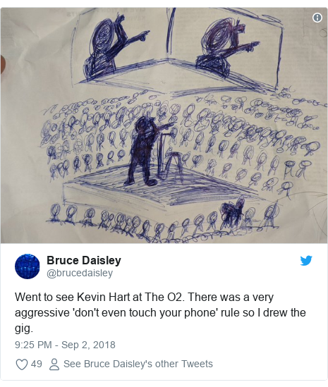 Twitter post by @brucedaisley: Went to see Kevin Hart at The O2. There was a very aggressive 'don't even touch your phone' rule so I drew the gig.