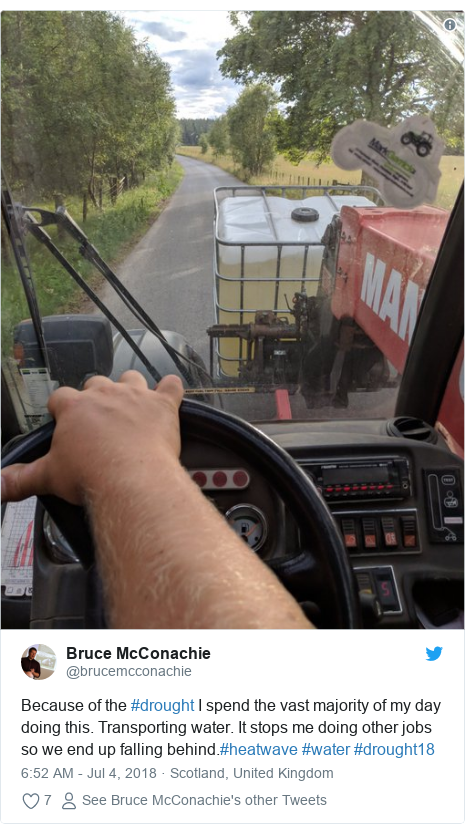 Twitter post by @brucemcconachie: Because of the #drought I spend the vast majority of my day doing this. Transporting water. It stops me doing other jobs so we end up falling behind.#heatwave #water #drought18