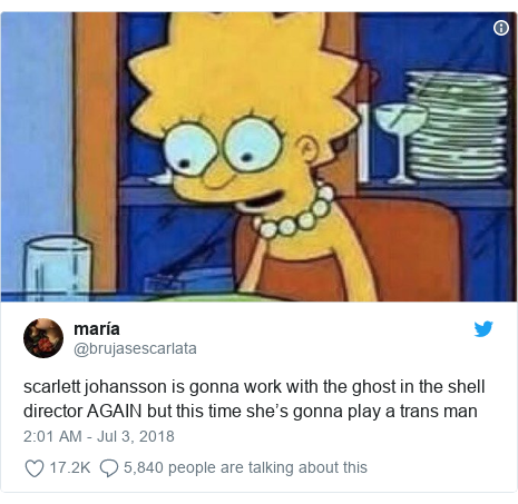 Twitter post by @brujasescarlata: scarlett johansson is gonna work with the ghost in the shell director AGAIN but this time she's gonna play a trans man