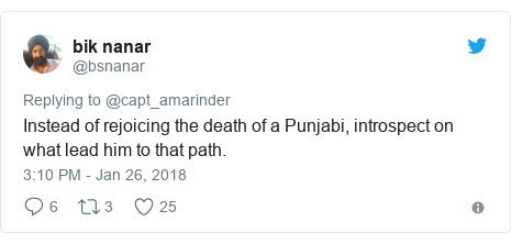 Twitter post by @bsnanar: Instead of rejoicing the death of a Punjabi, introspect on what lead him to that path.