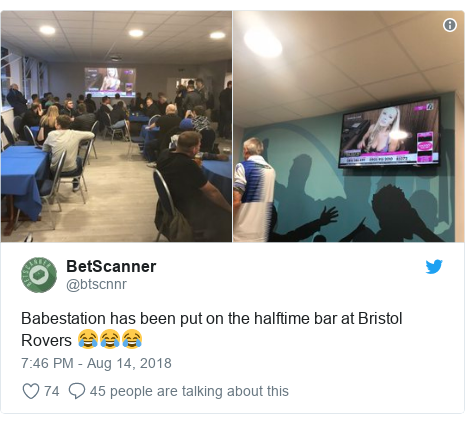 Twitter post by @btscnnr: Babestation has been put on the halftime bar at Bristol Rovers 😂😂😂