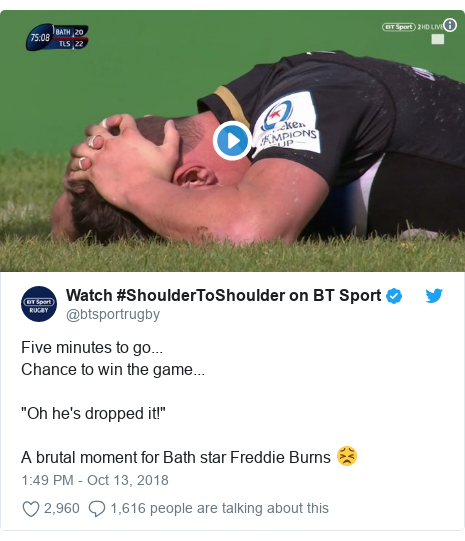"""Twitter post by @btsportrugby: Five minutes to go...Chance to win the game...""""Oh he's dropped it!"""" A brutal moment for Bath star Freddie Burns 😣"""