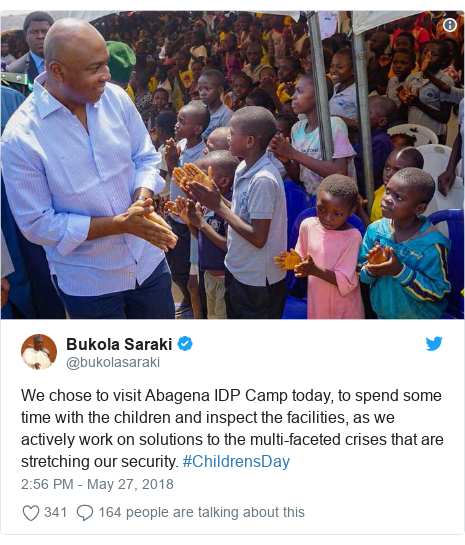 Twitter post by @bukolasaraki: We chose to visit Abagena IDP Camp today, to spend some time with the children and inspect the facilities, as we actively work on solutions to the multi-faceted crises that are stretching our security. #ChildrensDay