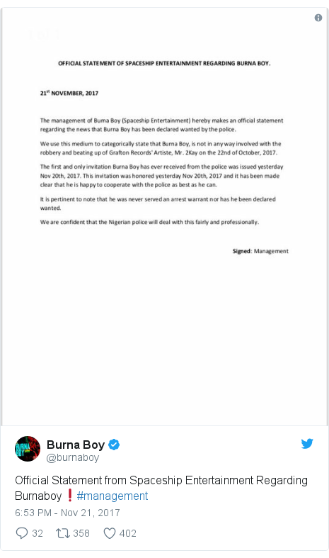 Twitter post by @burnaboy: Official Statement from Spaceship Entertainment Regarding Burnaboy❗️#management