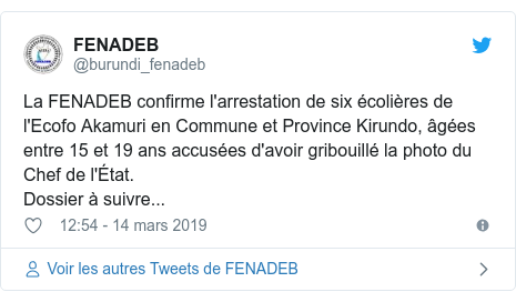 Twitter publication par @burundi_fenadeb: La FENADEB confirme l'arrestation de six écolières de l'Ecofo Akamuri en Commune et Province Kirundo, âgées entre 15 et 19 ans accusées d'avoir gribouillé la photo du Chef de l'État. Dossier à suivre...