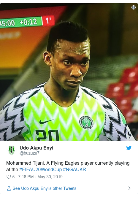 Twitter post by @buzuzu7: Mohammed Tijani. A Flying Eagles player currently playing at the #FIFAU20WorldCup #NGAUKR