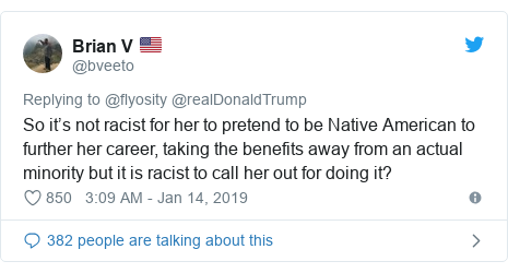 Twitter post by @bveeto: So it's not racist for her to pretend to be Native American to further her career, taking the benefits away from an actual minority but it is racist to call her out for doing it?
