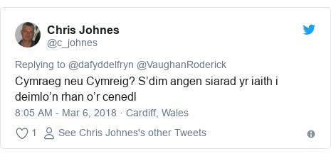 Neges Twitter gan @c_johnes: Cymraeg neu Cymreig? S'dim angen siarad yr iaith i deimlo'n rhan o'r cenedl