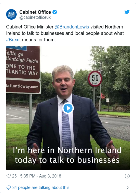 Twitter post by @cabinetofficeuk: Cabinet Office Minister @BrandonLewis visited Northern Ireland to talk to businesses and local people about what #Brexit means for them.