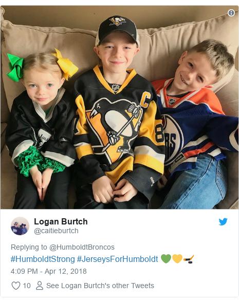 Twitter post by @caitieburtch: #HumboldtStrong #JerseysForHumboldt 💚💛🏒
