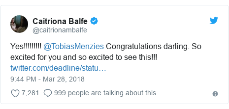 Twitter post by @caitrionambalfe: Yes!!!!!!!!! @TobiasMenzies Congratulations darling. So excited for you and so excited to see this!!!